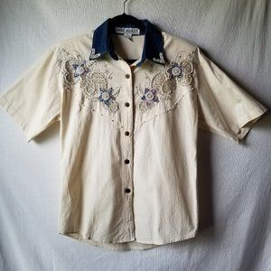 Jane Ashley Beaded Pearls Button Up Shirt VTG S